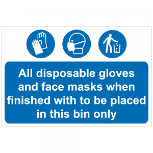 COV28 - All disposable gloves and face masks in this bin